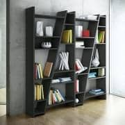 DELTA 1 to 5 columns shelfs, reversible system, wooden mat lacquering