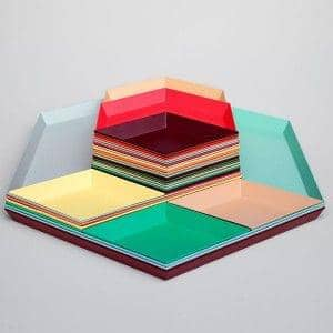 Kaleido, lacquered steel trays, available in five clever geometric shapes for multiple uses - deco and design