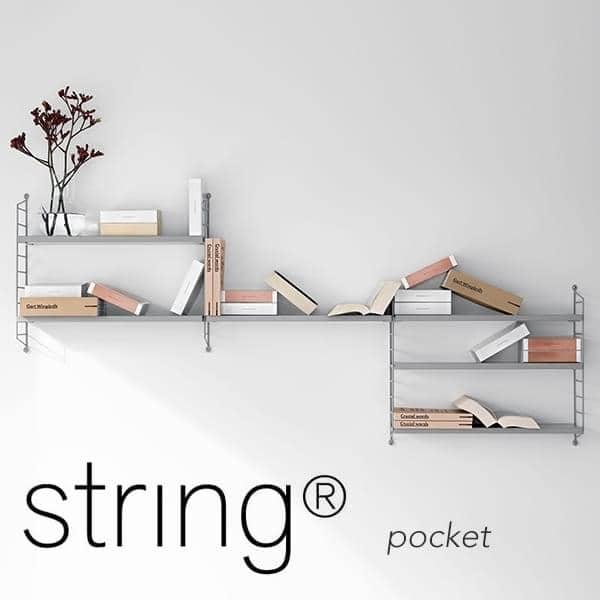 STRING POCKET modulopbyggede reolsystem, den oprindelige version, fremstillet i Sverige. - Deco og design