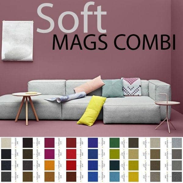 MAGS SOFA SOFT, com costuras invertidas, combinações, tecidos e couros, HAY