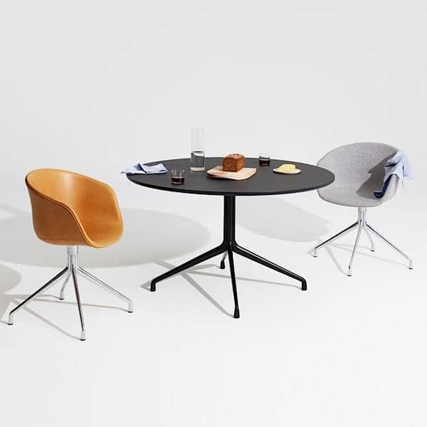AAT20 mesa redonda de jantar, madeira compensada, pernas de alumínio, HAY.