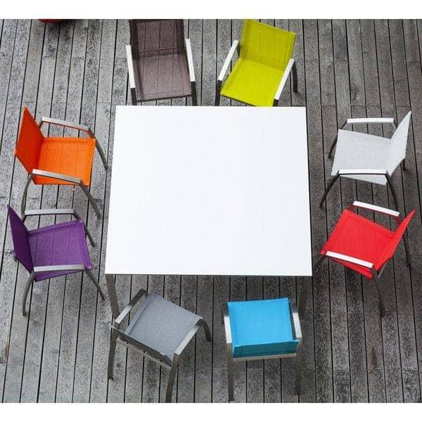 ALCEDO Lenestol, spesifikk for spisebord, rustfritt stål og BATYLINE, Ref 2md og 2MR, laget i Europa, etter TODUS