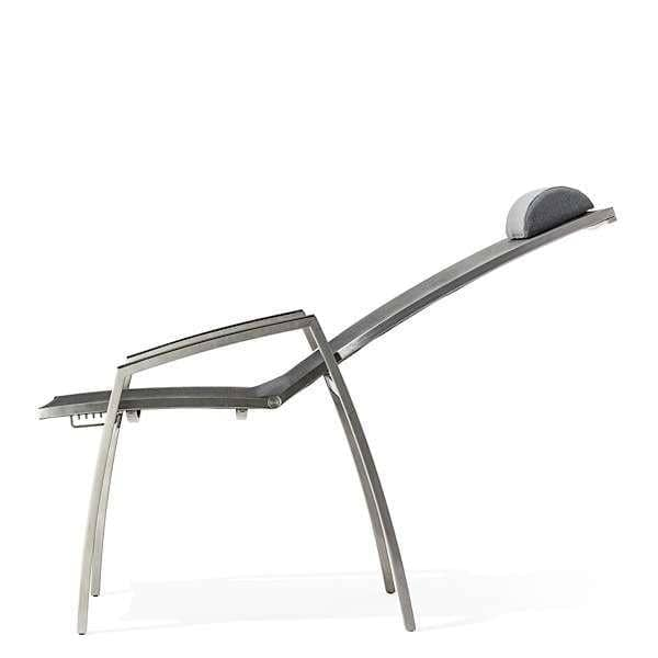 Flerposisjons lenestol, ALCEDO, rustfritt stål og BATYLINE, innendørs og utendørs, laget i Europa av TODUS - designet av JIRI SPANIHEL