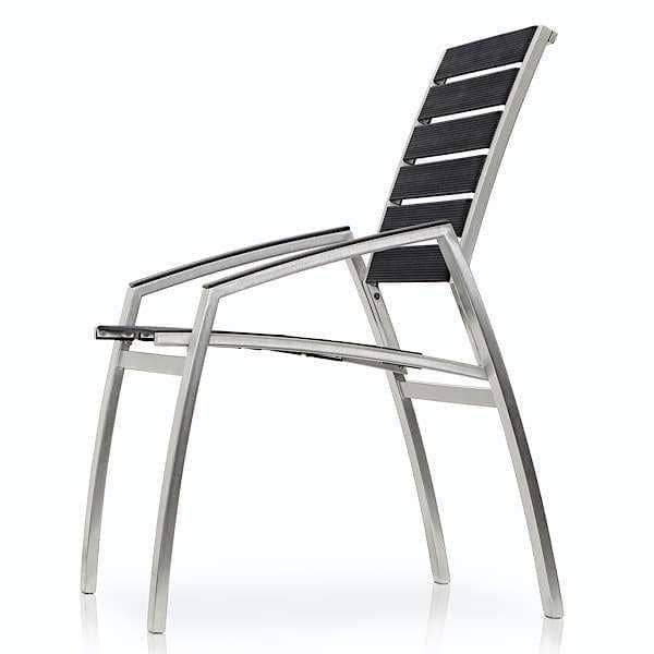 Armchair, ALCEDO-EB, stainless steel and elastic belts, trimmed armrests, indoor and outdoor, made in Europe