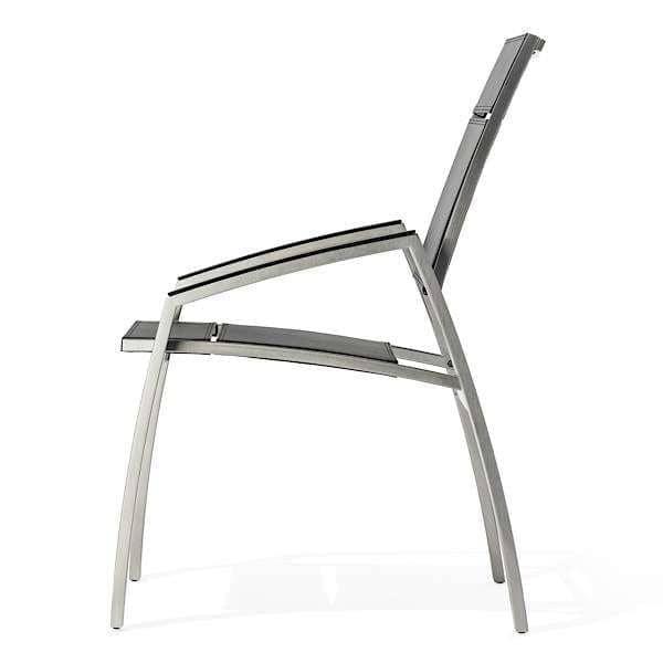 Lænestol, ALCEDO, rustfrit stål og vinyl SKAI, klippede armlæn, indendørs og udendørs, lavet i Europa ved TODUS - designet af JIRI SPANIHEL