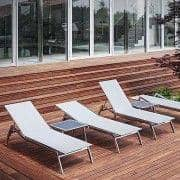 Bain de soleil ALCEDO, inox brossé et BATYLINE, indoor / outdoor, fabriqué en Europe