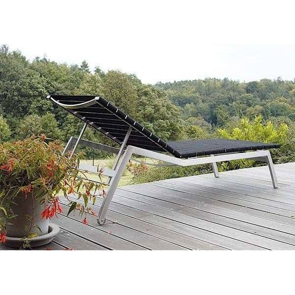 Sunlounger, ALCEDO-EB, stainless steel and elastic belts, indoor and outdoor, made in Europe by TODUS