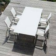Dining table, ALCEDO FORNIX F1 by TODUS, timeless, robust, clean lines, with or without extension: perfect for use on the terrace or in your living room