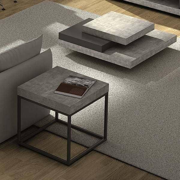 PETRA, mesa de centro e mesa lateral: aspecto concreto e aço, sem concreto - projetado pelo IN ES MARTINHO