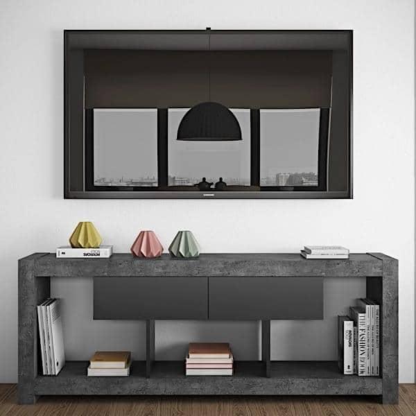 NARA, TV tavolo che trova il suo posto contro un muro o in mezzo alla sala, disponibile anche in aspetto concreto - progettato da TEMAHOME