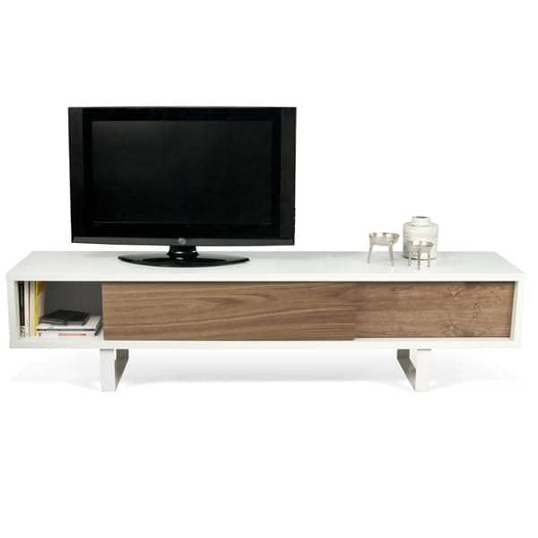 SLIDE, meuble tv ou buffet bas, un pied métal tout en légèreté, portes coulis -> Meuble Tv Design Deco