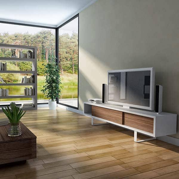 SLIDE 、 TVによって設計-モダンな空間のためのスタンドや低サイドボード、丸みを帯びた金属の足、スライディングドア、 NUNO HENRIQUES
