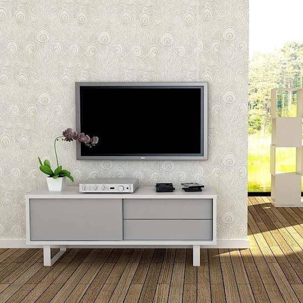 NILO, TV Tisch oder niedriges Sideboard: Metallbeine, Schiebetür ...