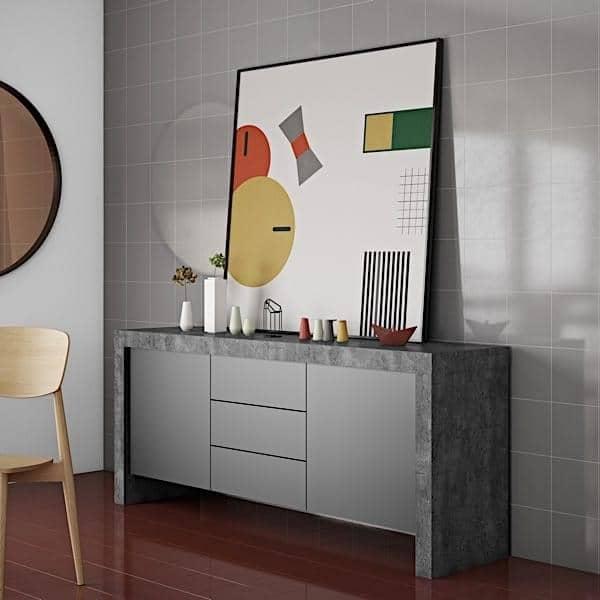 KOBE, Skænk moderne, med en imponerende lagringskapacitet. fås også i konkret aspekt - designet af TEMAHOME