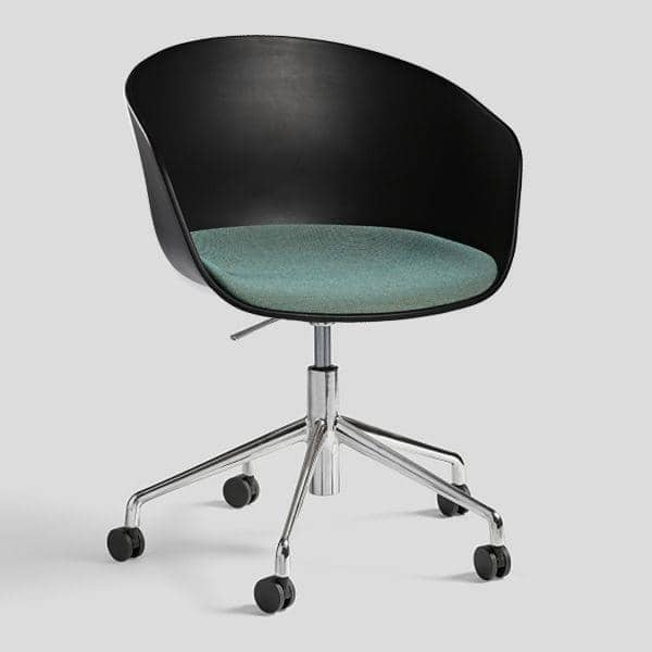 ABOUT A CHAIR - ref. AAC52 - Trukket sete eller polypropylen skall, aluminium ben med hjul og med Gassløft system - HEE WELLING, HAY