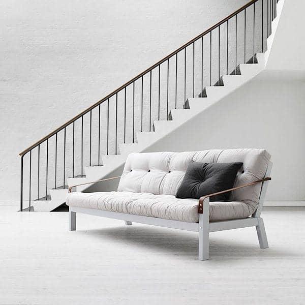 POEMS è un divano letto trasformabile comodo e originale. Legno e futon.