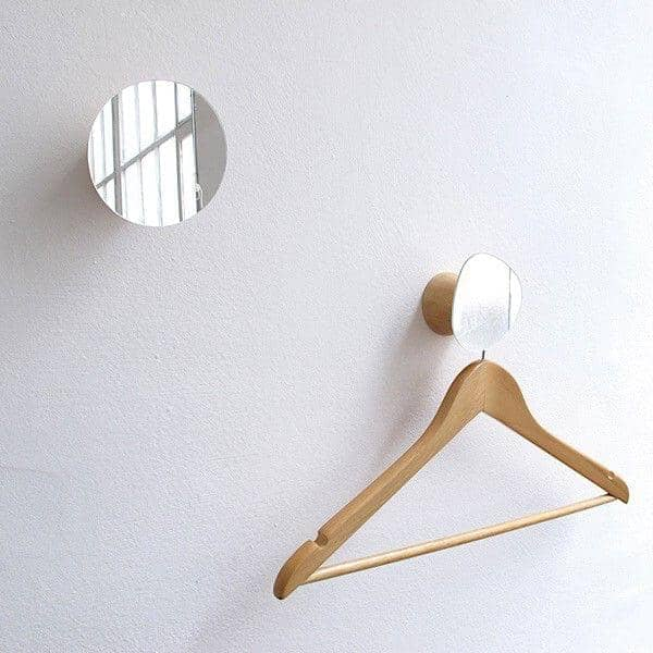 BOLET, peg and mirror, solid beech and glass, eco-design