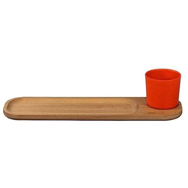 BISTRO 2, beechwood servering ombord med kopp, solid bøk og bambus fiber, økodesign
