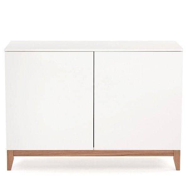 BLANCO μπουφέ, 120 x 48 x 85 cm, κατασκευασμένο σε μασίφ ξύλο βελανιδιάς και άσπρο ζωγραφισμένο ξύλο, 2 πόρτες, ρυθμιζόμενο ράφι - Δημιουργήθηκε από τ