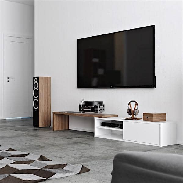 MOVE, an extendable and swiveling TV stand, a handy concept, adapted to all spaces.
