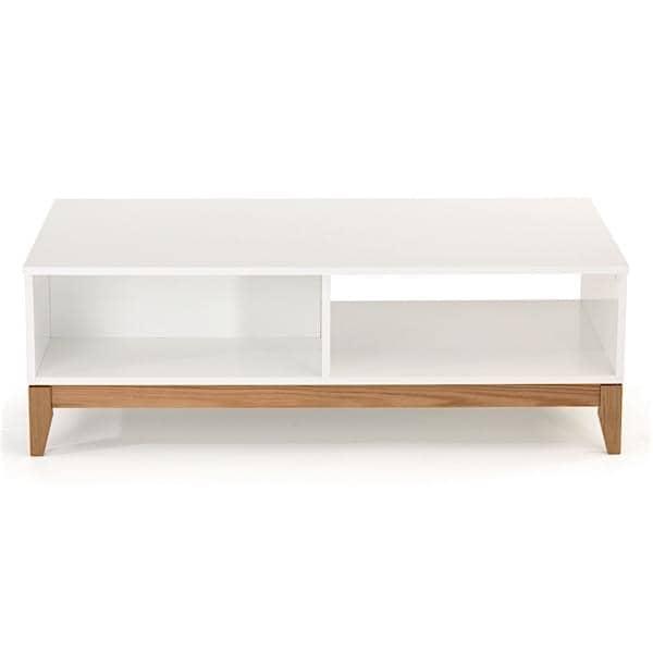 BLANCO mesa de café, estrutura de carvalho maciço, placa superior branca