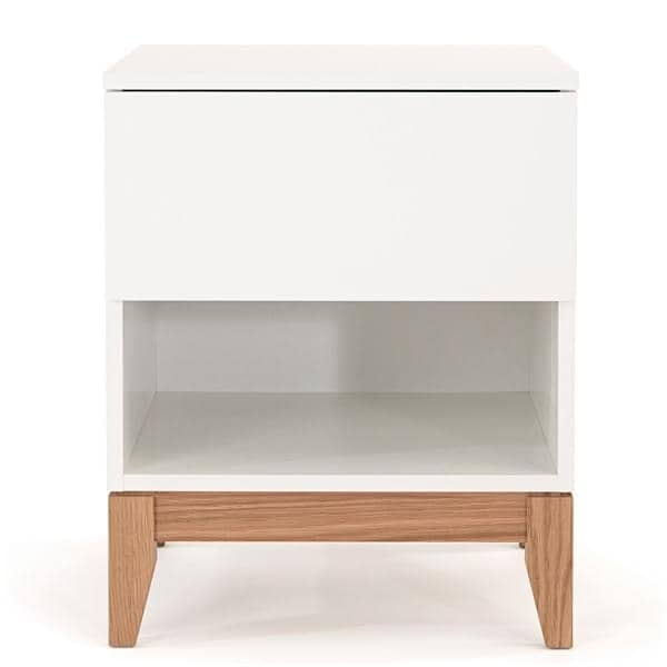 BLANCO side table, solid oak structure, white top plate