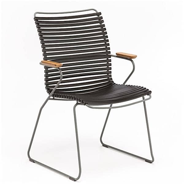 Sedia da pranzo, CLICK SYSTEM, schienale alto, resina e acciaio, all'aperto, per HOUE
