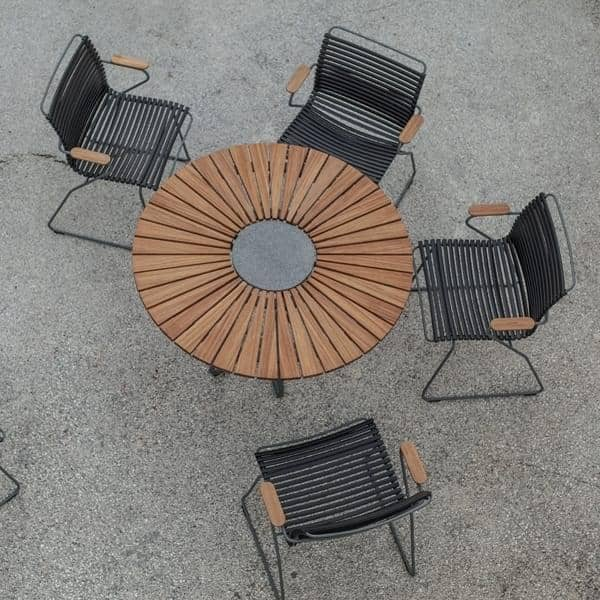 Tavolo Rotondo Per Esterno.Tavolo Da Pranzo Rotondo Circle Bambu E Granito Alluminio
