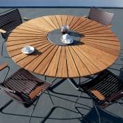שולחן עגול שולחן CIRCLE, במבוק וגרניט, פלדה, חוצות, על ידי HOUE