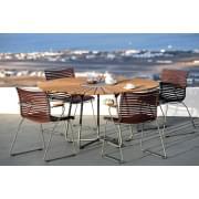 Rundt spisebord CIRCLE, bambus og granitt, stål, utendørs, ved HOUE