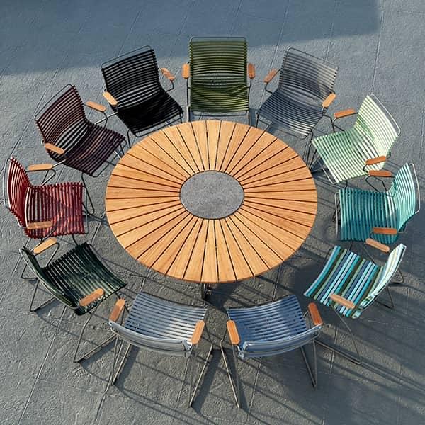Tavolo da pranzo rotondo CIRCLE, bambù e granito ...