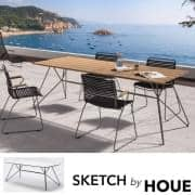 Table SKETCH, bambou et acier laqué epoxy gris, outdoor