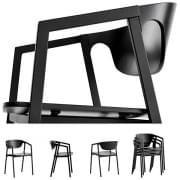 積み重ね可能な椅子SACの木材や金属、効率的な快適さを提供します。 WOUD