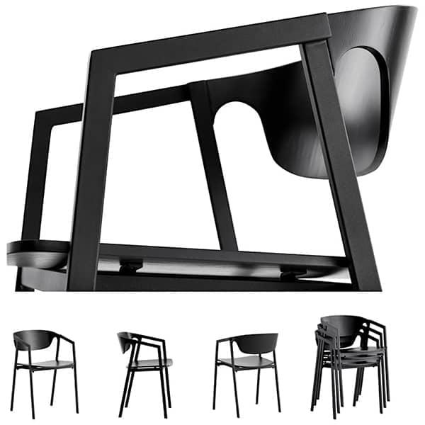 可堆叠的椅子SAC木材和金属,可提供高效舒适。 WOUD