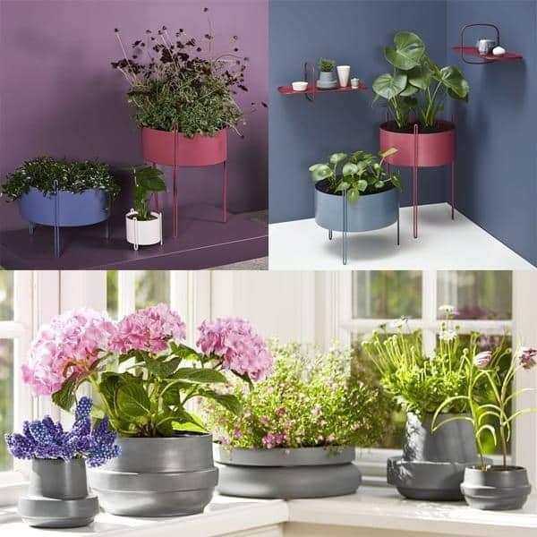 花盆PIDESTALL在钢铁和HINKEN陶瓷,现代和乐趣。 WOUD 。