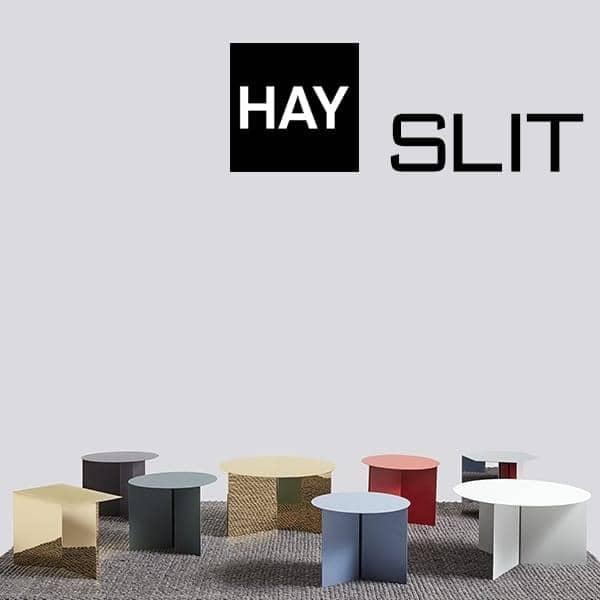 SLIT sidebord: rund, rektangulær og sekskantet. Vakre farger og materialer.