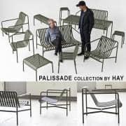 Colección PALISSADE - silla, sillón, taburetes, sofá, mesas y bancos - para uso en interiores o exteriores