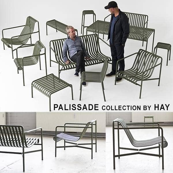 PALISSADE Kollektion - Stuhl, Sessel, Barhocker, Sofa, Tische und Bank - für den Innen- oder Außenbereich