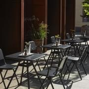 RAY outdoor CAFÉ tables, round or square, by FASTING & ROLFF for WOUD