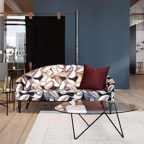 Pedrera Coffee Table Slender Base And Glass Table Top Gubi