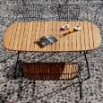 BEAM طاولة قابلة للطي بيضاوية الشكل ، من الفولاذ المطلي بالخيزران والبودرة ، للأماكن الخارجية من HOUE
