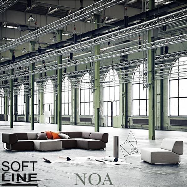 NOA, un generoso divano modulare, grafico e molto confortevole.