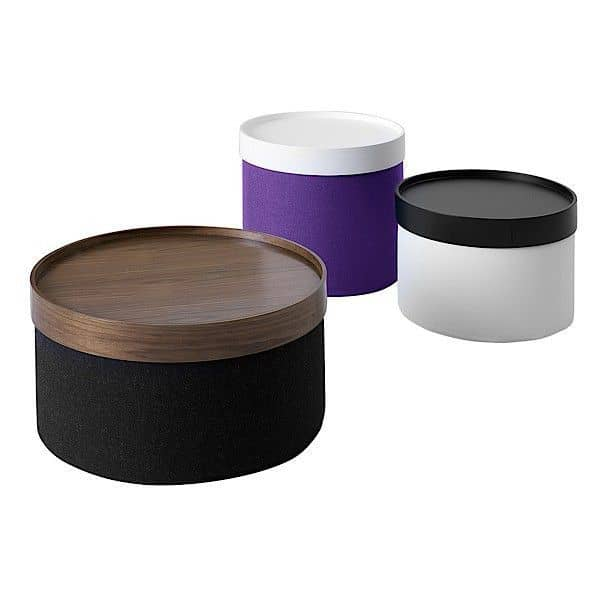 The drums tray create your own extra table deco and design softline - Table basse avec 6 pouf ...