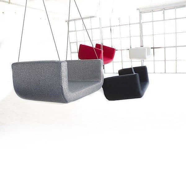 ME and U is an upholstered indoor swing, SOFTLINE