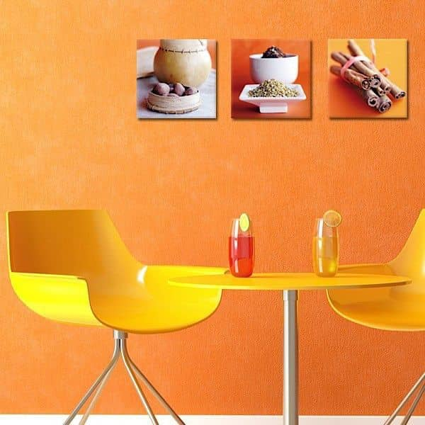 Trioer av kunst fotografier trykket på lerret og montert på bårer - stilig, moderne og dekorative