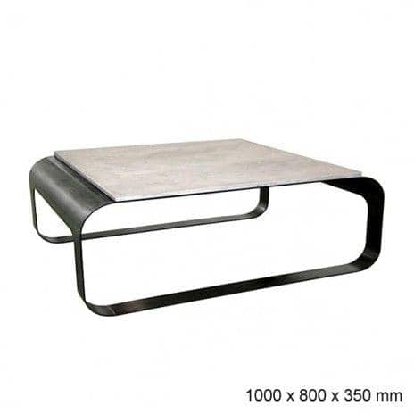 The STAR TREK coffee table Steel / Concrete or steel / Corian ® - deco and design, CAMELEON DESIGN EDITION - Star-Trek: Polished concrete plate, Steel Frame waxed patina - 100 x 80 x 35 cm