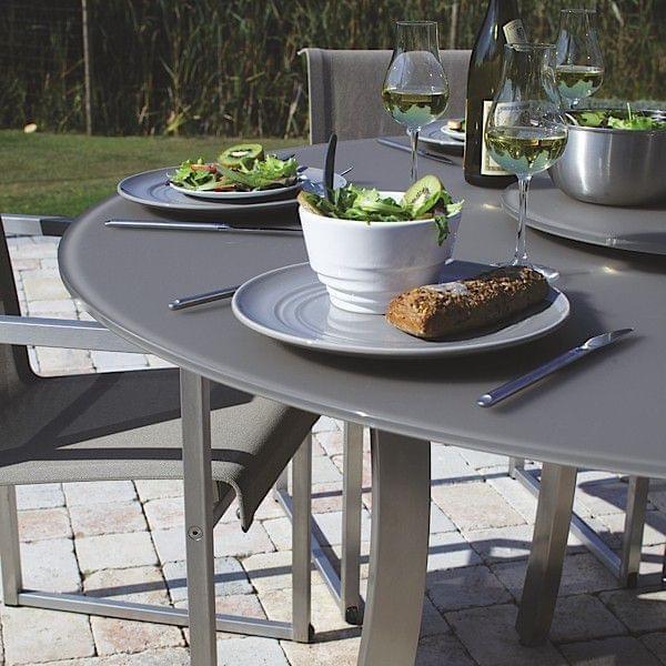 Luna tavolo pranzo rotondo vassoio matelux vetro temperato gambe acciaio inox piegate uso del.jpg