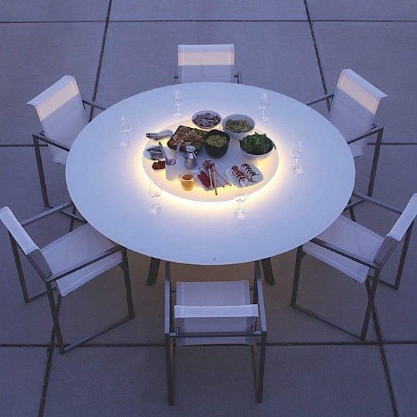 Luna runde spisebord skuff i matelux herdet glass ben boyd rustfritt stal for innendors eller utendors bruk deco og design joli.jpg