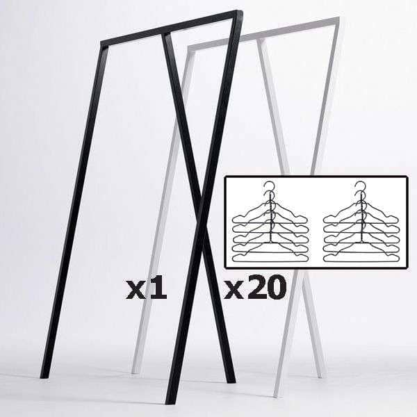 SET :1 LOOPスタンドのワードローブ+ 20黒ワイヤーハンガー、 HAY :その最良の価格で北欧デザイン