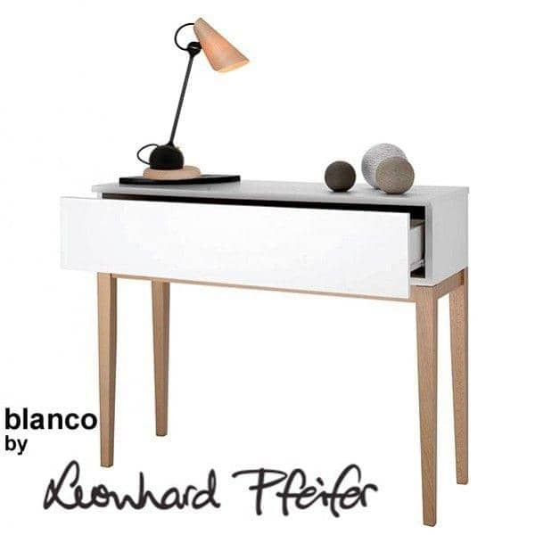 BLANCOコンソールテーブル- FSCソリッドオークと白の塗装木材、偉大なラインと品質!